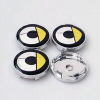 4x 60mm SMART Silber/Gelb Nabendeckel Felgendeckel Nabenkappen