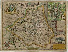 Map of Durham England 1611 John Speed, Reprint 10x8 Inch