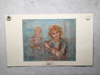 """Edna Hibel """"The Flautist"""" Numbered Lithograph Art Print Poster 15 x 24"""""""