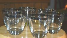 Set Of 6 Vintage Matching Clear Glasses With Silver Rim