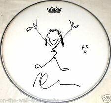 PEARL JAM HAND SIGNED AUTOGRAPHED DAVE KRUSEN DRUMHEAD WITH PJ 10 SKETCH! PROOF!