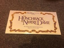 Disney's Hunchback of Notre Dame Movie Premiere Collectors Ticket. Le, Frameable