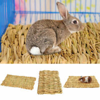 Practical Pet Rabbit Grass Mat Guinea Pig Woven Straw Cage Pad Bedding Chew Toy