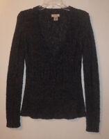 Arizona Jean Company Gray Acrylic Knit V-Neck Long Sleeve Sweater Sz Small