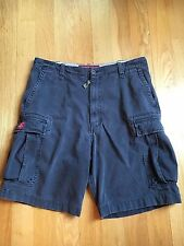 MENS Abercrombie & Fitch CARGO SHORTS Vintage Old Style Distressed NAVY 36 EUC