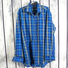 Henri Picard Men's 17.5 Blue Gold French Cuff L/S Button Down Dress Shirt (E15