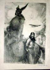 gravure lithographie par Georges Villa signature au crayon aviation avion
