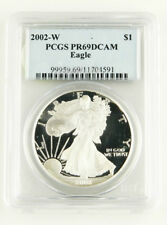 2002 W PCGS PR69DCAM PROOF AMERICAN EAGLE 1 OZ SILVER DOLLAR GRADED SLABBED COIN