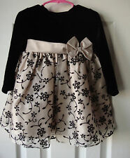 Black and Beige Girls Holiday Party Dress size 24 months