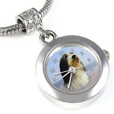 Bearded Collie Silver Quartz Watch European Bracelet Spacer Charm Bead EBA109