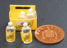 1:12 Scale 6 Tonic Water Bottles In A Paper Crate Tumdee Dolls House Pub Bar