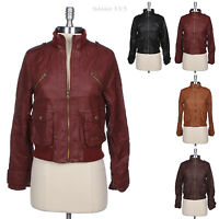 Faux Leather Full Zip PU Bomber Motorcycle Rider Jacket Front Flap Pocket Ribbed