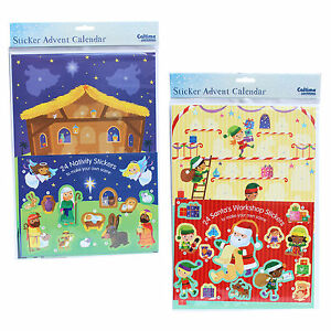 Christmas Countdown Sticker Advent Calendar - 24 Windows - Santa or Nativity