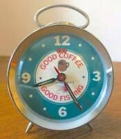 Mid Century Modern Starbucks Alarm Desk Clock Good Coffee Good Fishing *RARE*