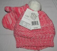 NEW CARTERS BABY GIRLS CORAL HAT & MITTEN SET 9-18M