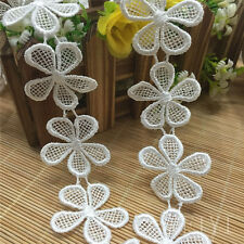 2M Polyester Guipure Lace Trim Flower Daisy Embroidered Applique DIY Ivory White