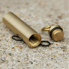 EDC Brass Waterproof Holder Case Outdoor Mini Survival Sealed Gear Container New