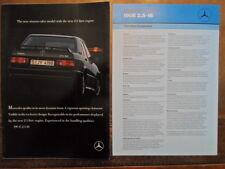 MERCEDES BENZ 190E 2.5-16 orig 1988 UK Mkt Sales Brochure + Spec Sheet