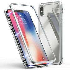 For iPhone X XS Max XR Magnetic Adsorption Metal Case Tempered Glass Back Cover