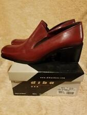 Diba Womens Red Brown Leather Solid Slip On Moc Toe Heeled Loafers SZ 10