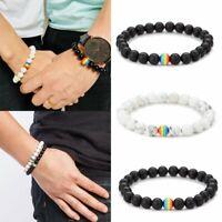 Women Men LGBT Gay Pride Peace Stone Beaded Bracelet Rainbow Couple Jewelry Gift