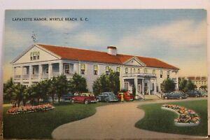 South Carolina SC Myrtle Beach Lafayette Manor Postcard Old Vintage Card View PC