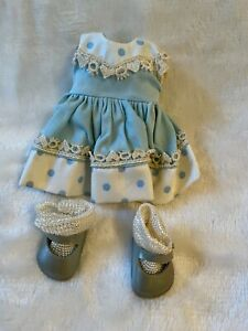 Vintage Vogue Ginny doll outfit; blue & white dress, underwear, shoes and socks