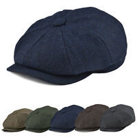 50% WOOL NEWSBOY CAP HERRINGBONE TWEED MEN IRISH DRIVING IVY GATSBY CABBIE V4