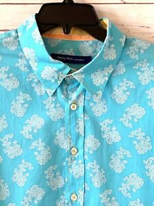 GEORG ROTH Mens Size XXXL 3XL Paisley Long Sleeve Shirt Turqouise Blue Cotton