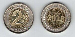 ZIMBABWE  NEW ISSUE BIMETAL 2$ BOND UNC COIN 2018 YEAR