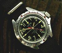 Soviet mechanical watch VOSTOK Komandirskie Military Black Dial Diver USSR