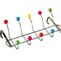 1pc Door Hangers Colored Beads 5-Hooks Punch Free Hook Rail for Bathroom Kitchen
