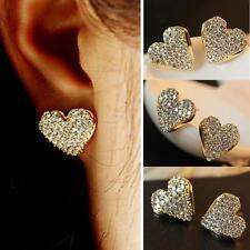 1 Paar Damen Ohrstecker Herz Schmuck Ohrringe Glitter Kristall Strass Gold Farbe
