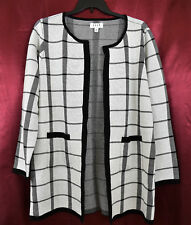 ELLE LS Long Round Neck Coatigan Cardigan Sweater Jacket Pockets Black White XXL