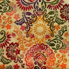 Half Metre Quilting Fabric ~ Deco Floral Design ~ Lemon