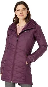 New Columbia Heavenly Long Hybrid Hooded Jacket Women's Medium Black Cherry