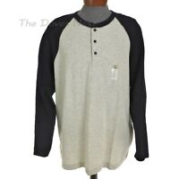 FOUNDRY SUPPLY CO. Men's 2XL BEIGE & GRAY HENLEY SHIRT with BLACK LONG SLEEVES