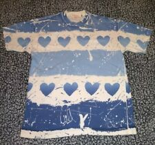 VTG 90s HEART all over print T SHIRT LARGE HIPPIE SINGLE STITCH 2 SIDED RARE Lrg