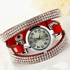 LUXURY CON STRASS PELLE BRACCIALE ROTONDO OROLOGI DA POLSO DONNA DRESS WATCH