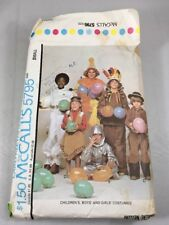 McCalls 5795 Vintage Childs Costume Patterns Cowboy Indian Clown Astronaut