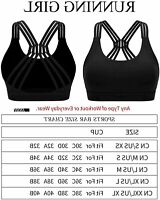 RUNNING GIRL Strappy Sports Bra for Women Sexy Crisscross, Black-1, Size Medium