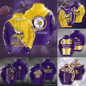 Minnesota Vikings Hoodie Men's Football Hooded Sweatshirt Casual Jacket Pullover