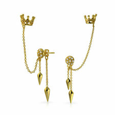 Crown Arrows Cartilage Earrings Warp Chain Cuff 14k Gold Plated Sterling Silver