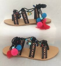 pom pom sandals Size 7 Black Charms Lace Up Flats Festival Beach Boho Ethnic