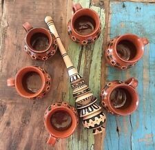 Classic Mexican Wooden Whisk /6 Cups Jarritos de Barro Hand Painted Hot Drinks