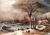 Village Landscape in Winter - Momper  - CANVAS OR PRINT WALL ART