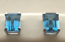 14KT White Gold 4.26CT Genuine Blue Topaz 6 X 8 MM Emerald Cut Stud Earrings