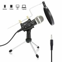Microphone Stand Condenser Android 3.5mm Karaoke Mic Record Phone Computer PC