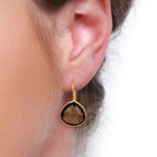 Natural Smoky Topaz 18K Gold Plated 925 Sterling Silver Dangle Earrings Jewelry