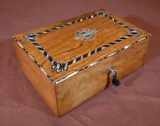 Antique rosewood box with metal, ebony and mother-of-pearl ornaments. R980381